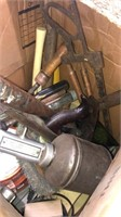 Box Lot Of Miscellaneous Tools And Hardware
