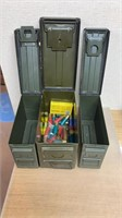 Lot of 3 ammo cans and miscellaneous shotshells.