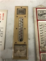 Antique Signs & 2 Advertising Thermometers
