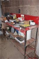 Metal Shelf W/ Tractor Parts