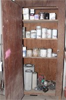 Wood Cabinet W/Contents - Oil & Air Filters, Etc