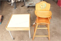 "Maple High Chair & ""Baby Butler"" Childs Table"