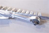 """12pc Craftsman 1/2"""" dr 12pt SAE Sockets & Ratchet"""