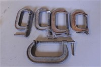 """5pc 4"""" - 6"""" USA Made C-Clamps"""