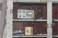 antique primitive cabinet and contents