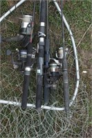 open face fishing poles (various sizes)