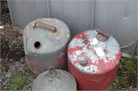 metal gas cans & gasoline funnel