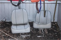 pair of boat seats & floatation devices