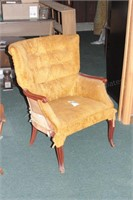 Mustard Curved Back Upholstered Chair