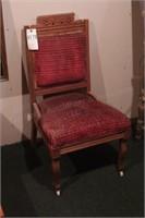 Vintage Upholstered Walnut Chair