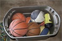 10pc Basketballs, Flashlight & Water-ski Rope