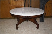 "34 x 22"" Marble Top Oval Coffee Table"