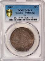 50C 1809 OVERTON 107. III EDGE. PCGS MS63