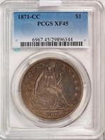$1 1871-CC PCGS XF45