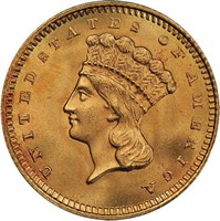 G$1 1859 PCGS MS67 CAC