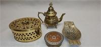4 pcs of Solid Brass Pitcher, Owl, Jar, Etc