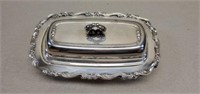 Rogers Silverplated Butter Tray Glass Insert