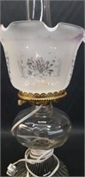 Antique glass hurricane style lamp