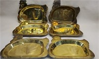 Estate Lot of 6 Brass Rooster Serving Trays