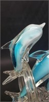 Beautiful murano style triple dolphin decor