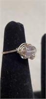 Beautiful Sterling Silver Swirled Ring with Stone