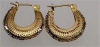 Beautiful Pair of 14k Yellow Gold Loop Earrings