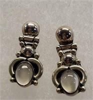 Pair of Sterling Silver Moonstone Earrings