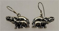 Sterling Silver Dangle Elephant Earrings