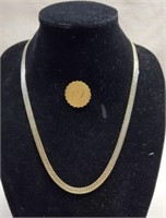 Beautiful Gold Colored Costume Necklace & Pin