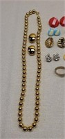 Estate Lot of 10 Clip On Earrings, Necklace, Etc