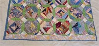 Antique Hand Quilted Multicolored Ring Quilt