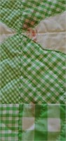 Antique Hand Quilted Green & White Quilt