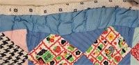 Antique Hand Quilted Printed Squares Quilt
