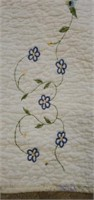 Large Beautiful White Floral Quilted Blanket