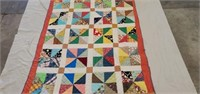 Antique Hand Quilted Multicolored Triangle Quilt
