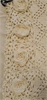 Small Beautiful Ivory Crocheted Floral Throw