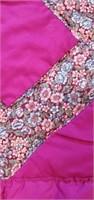 Beautiful Fuchsia Floral Diamond Pattern Quilt