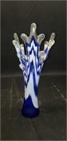 Beautiful murano style blue glass vase