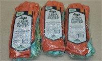 3 packs of Digs Nitrile Coated Gloves - 3 to a pk
