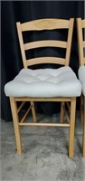 Set of 3 Yellow Pine Wooden Ladderback Chairs