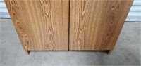 Tall Brown 2 Door Cabinet with Key