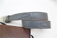 "36"" Leather Belt w/Barlow Buckle(Wolves) more"