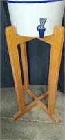 Vintage Blue & White Crock on Wood Stand