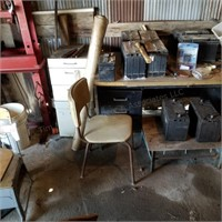 3pc Metal Office Desk & Small Metal Cabinets