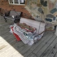 Hanging Porch Swing & Cushions