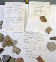 Pottery Artifacts With notes found with them