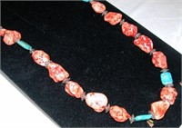 Navajo Made Red & Green Turquoise Necklace
