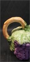 Beautiful Italian Pottery Grape Pitcher