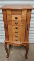 Beautiful Oak Wooden Free Standing Jewelry Box