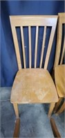 Set of 4 Yellow Pine Wooden Chairs
